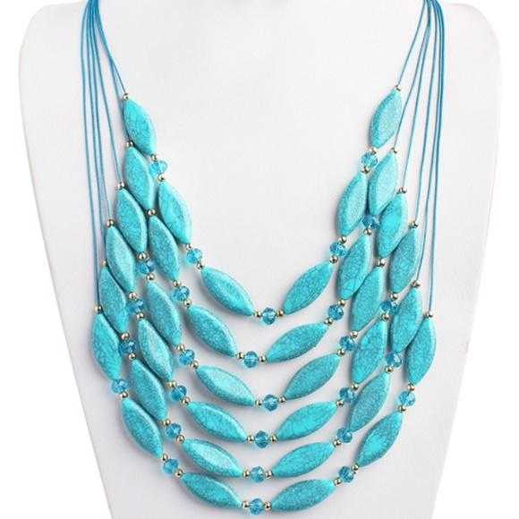 Turquoise Layered Necklace-Jewelry-Moda Me Couture ®