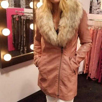 Faux Leather Coat with Fur Collar-Jackets & Coats-Moda Me Couture