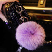 Lavender Faux Fur Pom Pom Keychain-Accessories-Moda Me Couture