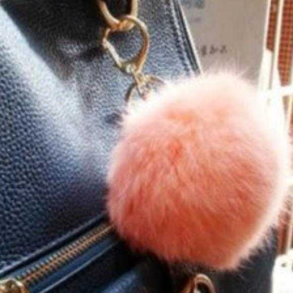 Peach Faux Fur Pom Pom Keychain-Accessories-Moda Me Couture