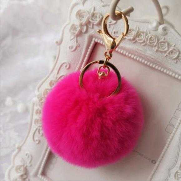 Pink Faux Fur Pom Pom Keychain-Accessories-Moda Me Couture