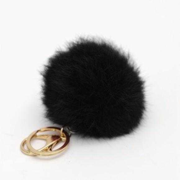 Black Faux Fur Pom Pom Keychain-Accessories-Moda Me Couture