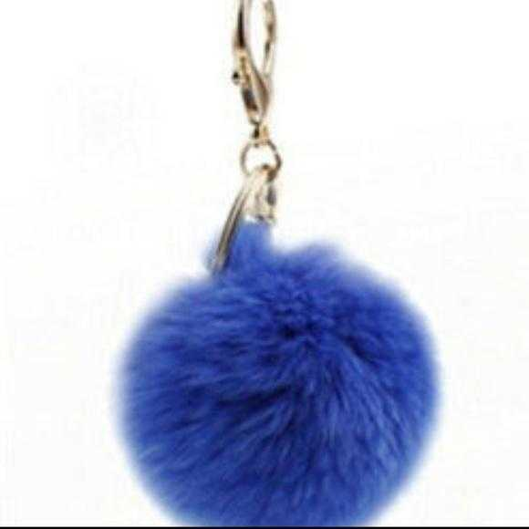 Blue Faux Fur Keychain-Accessories-Moda Me Couture