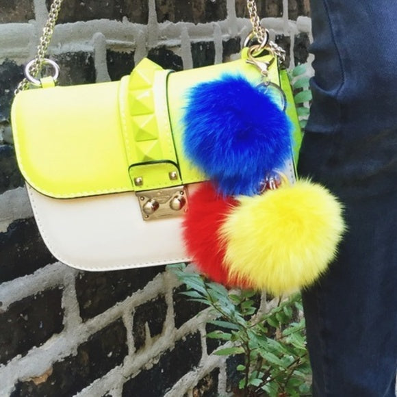 Yellow Faux Fur Keychain-Accessories-Moda Me Couture