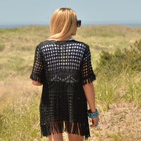 Black Crochet Vest-Jackets & Coats-Moda Me Couture