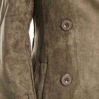 Olive Green Suede Trench coat-Jackets & Coats-Moda Me Couture ®