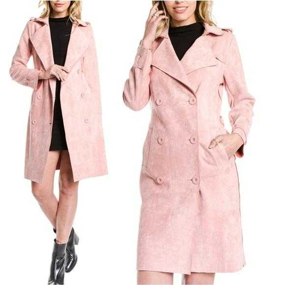 BLUSH faux suede trench coat | MODA ME COUTURE