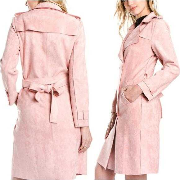 BLUSH faux suede trench coat