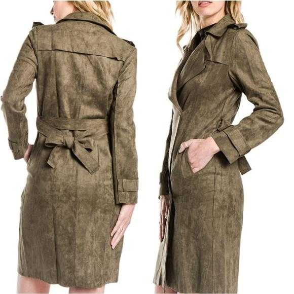 Olive Green Suede Trench coat