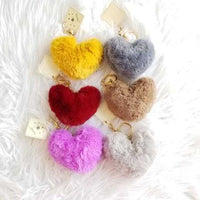 Faux Fur Heart Keychain-Accessories-Moda Me Couture
