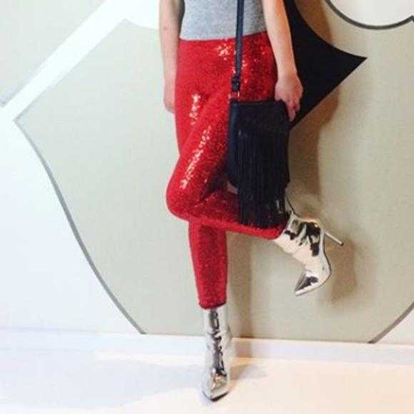 RED SEQUIN LEGGINGS / PANTS | MODA ME COUTURE
