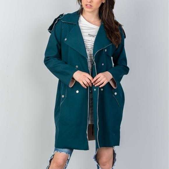 Modern teal Jacket-Jackets & Coats-Moda Me Couture ®