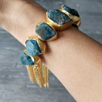 Apatite Handcrafted Cuff Bracelet-Jewelry-Moda Me Couture