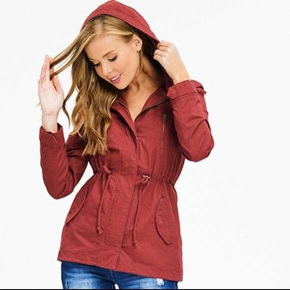 RUSTY RED Anorak Jacket-Jackets & Coats-Moda Me Couture