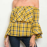 HAYLEY Mustard Off Shoulder Top-Tops-Moda Me Couture ®