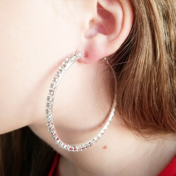 Rhinestone Hoops-Jewelry-Moda Me Couture