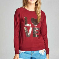Burgundy French Terry Pullover-Tops-Moda Me Couture ®