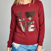 Burgundy French Terry Pullover-Tops-Moda Me Couture
