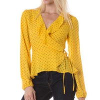 Polka Dot Wrap Top - Yellow-Tops-Moda Me Couture