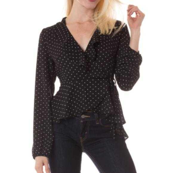 Black Polka Dot Wrap Top-Tops-Moda Me Couture