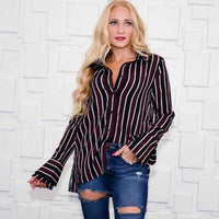 Striped Button Down Top - Burgundy-Tops-Moda Me Couture