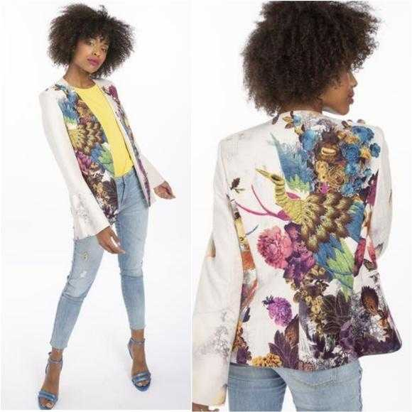 The Peacock Statement Suede Jacket-Jackets & Coats-Moda Me Couture ®