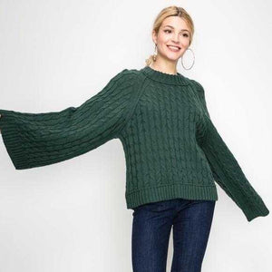 Alessia Forest Green Knit Sweater | MODA ME COUTURE