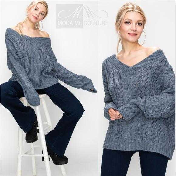 Emily Dusty Blue Cable Knit Sweater | MODA ME COUTURE