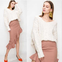 Autumn Cable Knit Sweater Cream-Sweater-Moda Me Couture