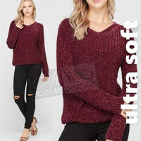 Ultra Soft Sweater Burgundy-Sweater-Moda Me Couture