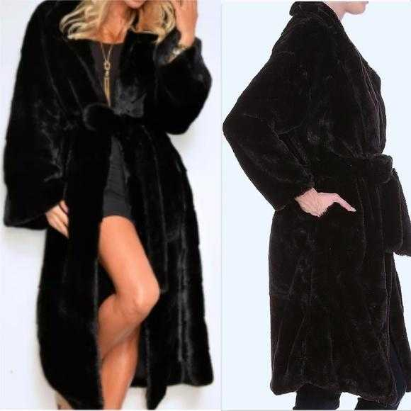 GIA Black Faux Fur Coat-Jackets & Coats-Moda Me Couture