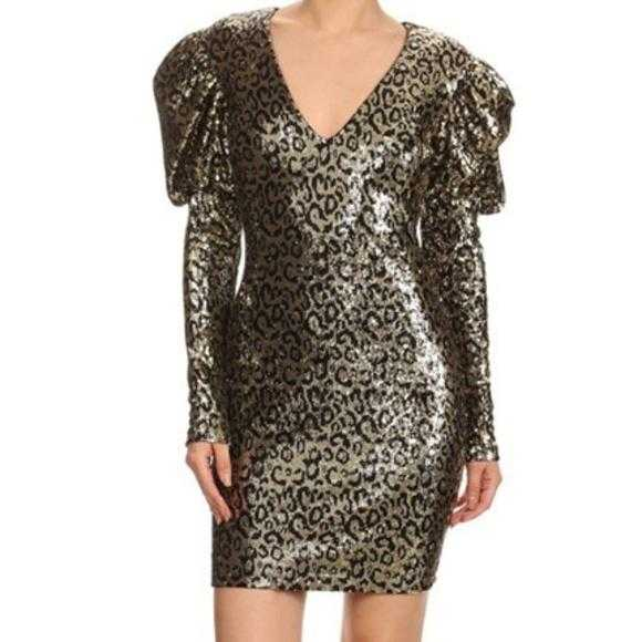 Leopard Sequin Mini Dress-Dress-Moda Me Couture ®
