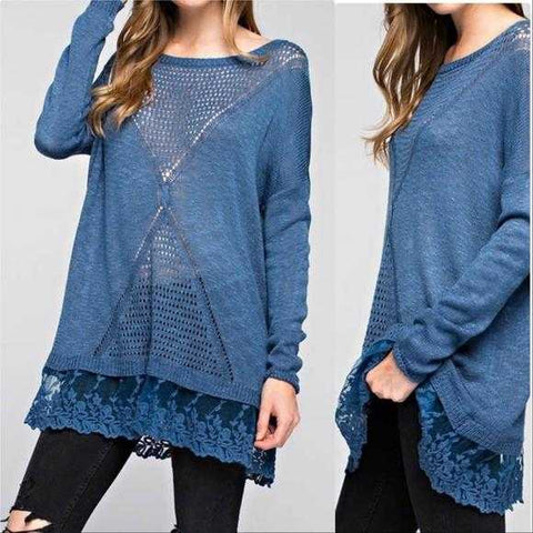 HARMONY Blue Knit Top