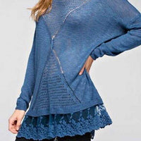 HARMONY Blue Knit Top-Tops-Moda Me Couture ®