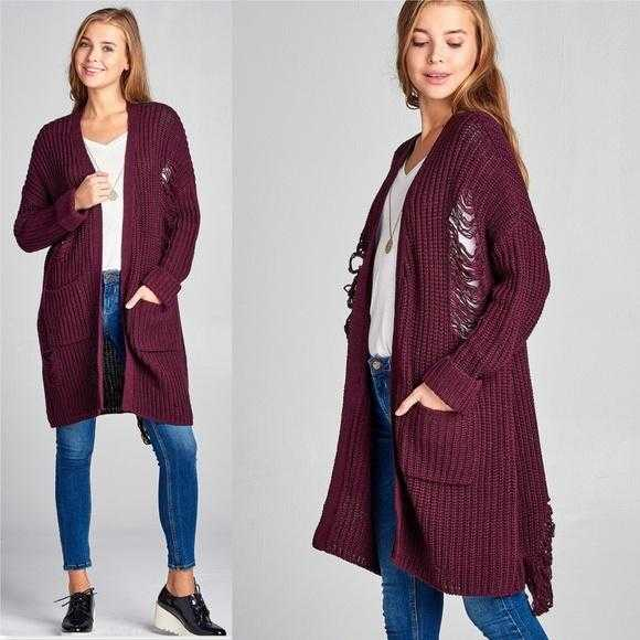Casual Distressed Sweater Burgundy-Sweater-Moda Me Couture ®