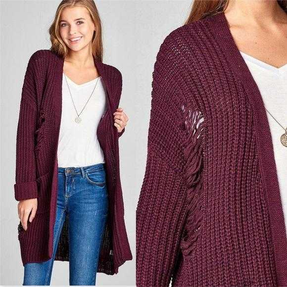 Distressed Burgundy Sweater