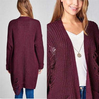 Casual Distressed Sweater Burgundy-Sweater-Moda Me Couture