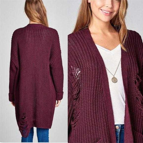 Casual Distressed Sweater - Burgundy