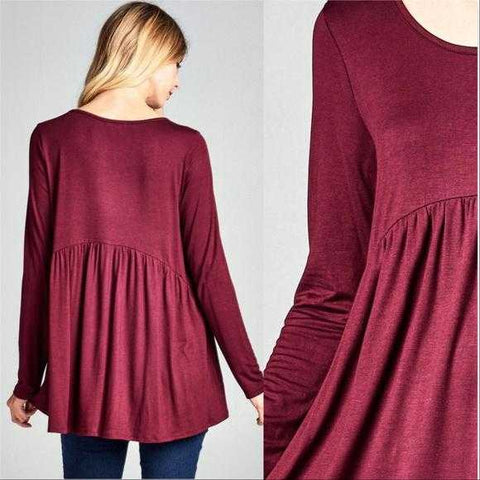 ABBY BURGUNDY TUNIC TOP