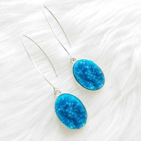 Druzy Drop Earrings-Jewelry-Moda Me Couture