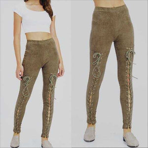 OLIVE LACEUP SUEDE PANTS