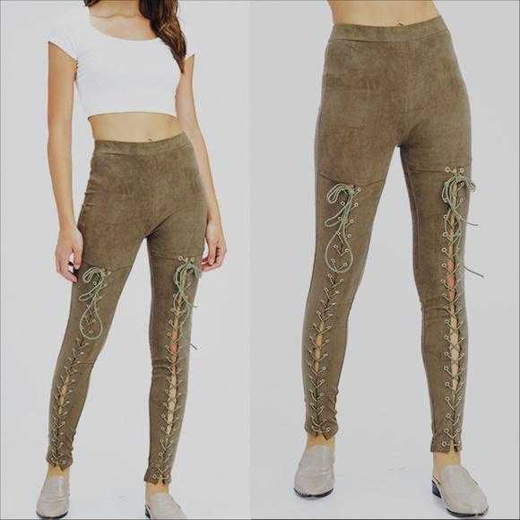 Olive Lace Up Suede Pants-Pants-Moda Me Couture