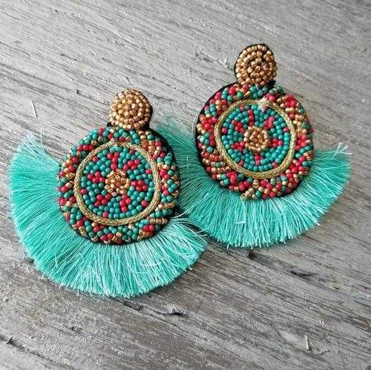 Beads & Tassel Earrings Blue-Jewelry-Moda Me Couture