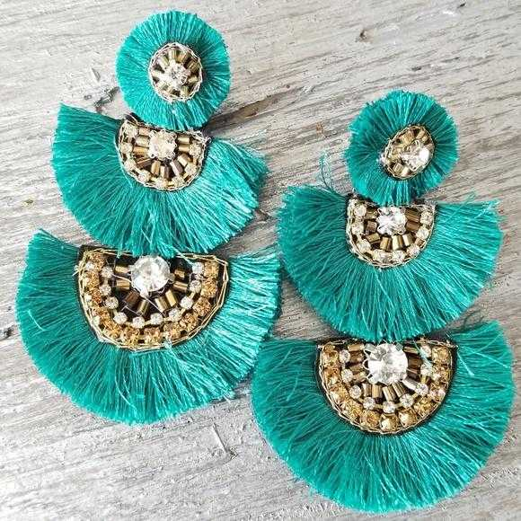 Boho Beauty Tassel Fan Earrings Teal-Jewelry-Moda Me Couture