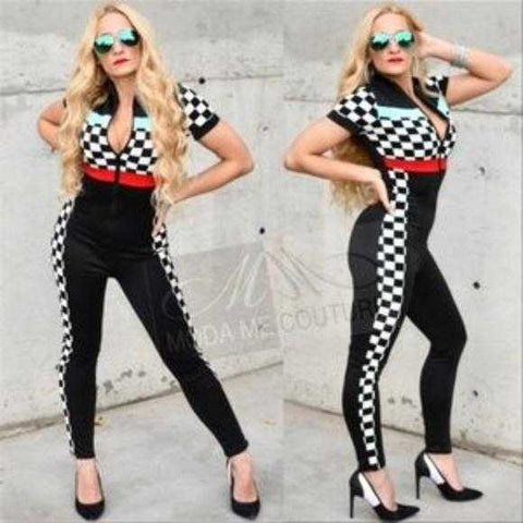 Checker Race Track Jumpsuit | MODA ME COUTURE