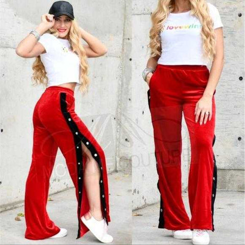 Red Velvet Track Pants | MODA ME COUTURE
