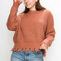 Frayed Destroyed Sweater - Clay-Sweater-Moda Me Couture