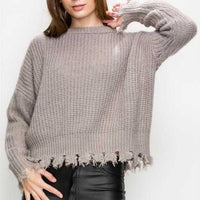 MAISY Frayed Destroyed Boxy Sweater-Sweater-Moda Me Couture