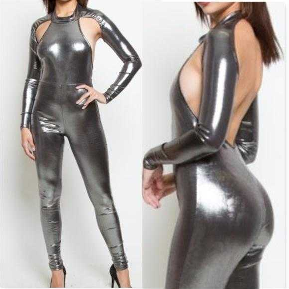 Silver Metallic Jumpsuit-Pants-Moda Me Couture