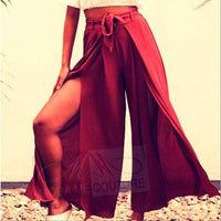 JESSICA Red Wine Split Pants-Pants-Moda Me Couture